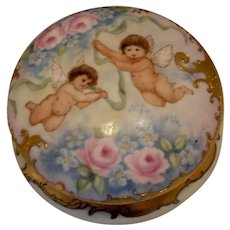 Beautiful Limoges Dresser Jar; Cherubs, Roses, Forget Me Nots & Heavy Gold