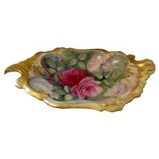 Beautiful Limoges Rococo Dish; Vivid Roses; Heavy Gold