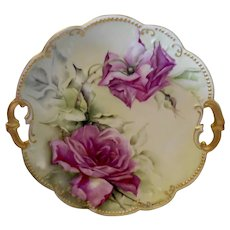 Beautiful Limoges Scalloped Handled Plate/Charger; Stunning Roses