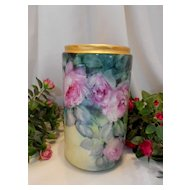 Beautiful Limoges Large Vase; Bischoff Style roses