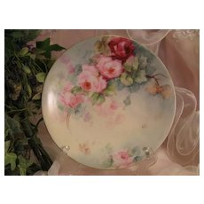 """""""ROSES ROSES ROSES"""" Gorgeous Antique Limoges France Hand Painted Victorian Porcelain Cabinet Plate ~ Jean Pouyat JP L French Floral Art Plate 8 3/8"""" Circa 1900"""