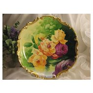 """A Springtime Beauty ~ CLASSIC LIMOGES FRENCH ROSES ANTIQUE PLAQUE Victorian Floral Art France CHARGER China Painting by French Artist """"J. Peyrod"""" Original Handpainted Artistry Classical Still Life of Large CABBAGE ROSES Coronet Mark c1906"""