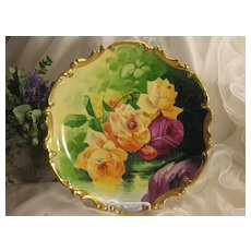 "A Springtime Beauty ~ CLASSIC LIMOGES FRENCH ROSES ANTIQUE PLAQUE Victorian Floral Art France CHARGER China Painting by French Artist ""J. Peyrod"" Original Handpainted Artistry Classical Still Life of Large CABBAGE ROSES Coronet Mark c1906"
