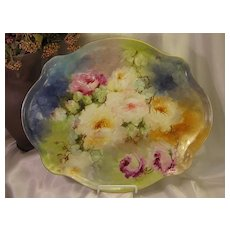 """Hand Painted Masterpiece"" Limoges France ROSES Hand Painted ""One-of-a-Kind"" Large Dresser Serving Tray Vintage Victorian Floral Art China Painting upon Porcelain French Romantic Handpainted Art Treasure Jean Pouyat circa 1900"