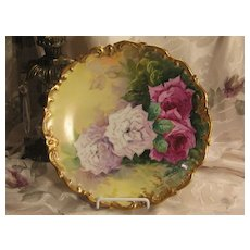 """True Classic Antique Hand Painted Limoges ROSES Plaque Charger French Artist """"B Aubin"""" Outstanding Victorian Highly Collectible Floral China Painting French Porcelain w Elegant Rococo Gold Border circa1900"""