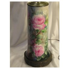 Absolutely Magnificent Limoges France Hand Painted Roses Turn-of-the-Century VICTORIAN MASTERPIECE Exquisite and Superbly Hand Painted Drop Dead Gorgeous Antique Porcelain Lamp Vase Master Artistry Remy Delinieres, D & CO., circa 1894 –1900