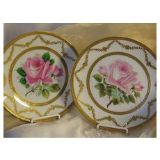 """Incredible Museum Quality Limoges France Service Dinner Plate Set Exceptional Hand Painted Roses Gold Encrusted Borders Victorian Heirloom Table Setting Artist Signed """"Schopp"""" D.B. Bedell & Co New York, Charles J. Ahrenfeldt Circa 1900"""