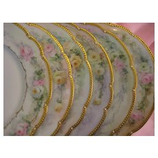 """Hand painted ROSES & JEWELS "" ~ Set of Eleven Breathtaking Antique Limoges France Fine Art Dessert Plates Afternoon Floral Tea Plates 19th Century American Victorian Period Tressemann and Vogt, circa 1900"