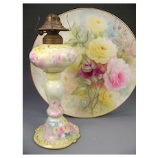 VERY RARE D&C Limoges France Oil Lamp Turn-of-the-Century Hand Painted PINK and YELLOW ROSES Gold Work ~ Artist Signed Delinieres & Co Circa 1890