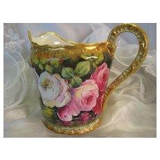 "Superb Hand Painted French Limoges Lemonade Cider Pitcher  ~ Stunning Artwork and Porcelain Mold ~ Wonderful Heirloom Treasure ~ Victorian Roses ~ Artist Signed ""Louis"" Circa 1900"