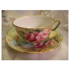 "Beautiful FRENCH ROSES TEA CUP & SAUCER"" ~  Antique France Limoges French Hand Painted Vintage Victorian Fine Floral Art China Painting Artwork Old European Porcelain 19th Century Circa 1890"