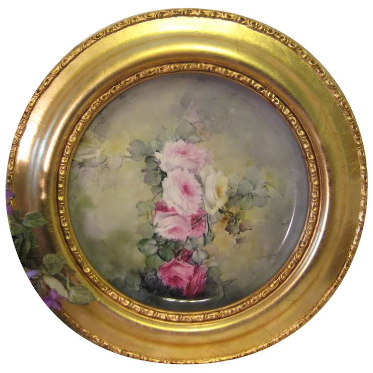 Victorian French Hand Painted Tea Roses Gorgeous Limoges France Framed Tray Chop Plate