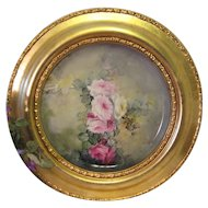 """VICTORIAN FRENCH HAND PAINTED TEA ROSES"" Gorgeous Limoges France Framed Tray ~Chop Plate ~ Charger ~ Magnificent Art Heirloom in Beautiful Roman Gold Ornate Frame ~ Collector Piece Gorgeous Master Artistry Circa 1906"