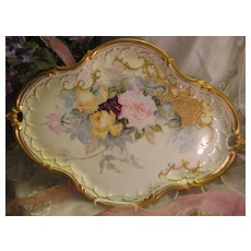 """""""Absolutely Breathtaking Masterpiece"""" Antique Unmarked Limoges French Rare LARGE SERVING HANDLED TRAY Hand Painted Superb Delicate Pastel Roses ~ Wonderful Gold Paste Work ~ Heavy Gold ~ Victorian Heirloom French Tea Service Tray circa 1899"""