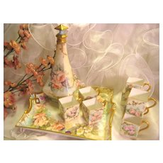 Breathtaking Limoges France Hand Painted Decanter Liquor Set ~ Beautiful Apricot and Pink Roses with Sweet Blackberries, 8 Cups, and Matching Tray