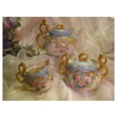 GORGEOUS and Rare Willets Belleek Jeweled Tea Set ~ Elegant TEA POT ~ Sugar and Creamer ~ Hand Painted TEA ROSES ~ Outstanding Victorian Heirloom Treasure ~ Exceptional Raised Enameled Gold Paste Work ~ Intricate Beading ~ Carter Studio ~ Circa 1885