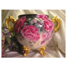 """GORGEOUS HAND PAINTED BEAUTY"" Exquisite Victorian Large French Limoges JARDINIERE ~ Vase Planter ~ Hand Painted ROSES Ornate Handles and Feet Bernardaud & Co Circa 1900"