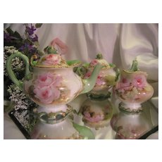Magnificent RARE MOLD BEAUTY Limoges France Antique Victorian Tea Set ~ Creme de la Creme ~ Hand Painted ROSES w Gold Spider Web Details ~ Master Artistry Fine China Painting ~ Museum Quality ~ Breathtaking One of a Kind ~ Circa 1891