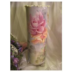 """Absolutely Stunning ~ Exquisite Antique Porcelain Gorgeous Large 14"""" Tall Willets Belleek Hand Painted Roses Impressive Ruffle Top Footed Vase Circa 1900"""