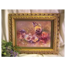 Breathtaking Limoges France Huge Hand Painted Framed Porcelain Plaque Pansies~  Masterpiece Stunning Still Life Painting on Porcelain ~ Magnificent Framed Piece of Fine Art ~ Heirloom Treasure ~ Collector Piece ~ Circa 1900