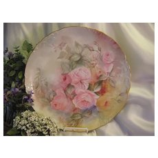 """BEAUTIFUL ROMANTIC SOFT ROSES"""" Large 14"""" Limoges Charger ~ Fine Antique Hand Painted Art Floral China Painting Artist Signed ~ French Porcelain Jean Pouyat circa 1891"""
