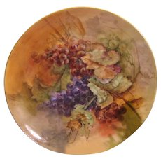 """""""LUSCIOUS GRAPES"""" Large 16"""" Antique Limoges France Charger Wall Plaque Hand Painted Victorian Treasure Art China Painting Fine French Porcelain Circa 1891"""