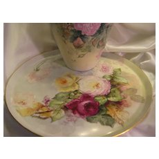 """""""STUNNING VICTORIAN ROSES"""" Absolutely Gorgeous Large 18"""" Antique Hand Painted Limoges France Serving Tray Charger Plaque Plate Vintage Victorian Heirloom Floral Art China Painting Original ONE-OF-A-KIND Handmade Artistry Fine French T&V Circa 1892"""