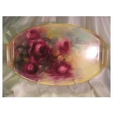 """""""Absolutely Breathtaking Masterpiece"""" ~ Outstanding Antique Porcelain Handled Tea Service Tray ~ Superb Masterpiece Hand Painting Roses ~ Statement Piece ~ Fine Porcelain Art-work ~ Artist Signed 1916 ~"""