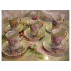 ~ Absolutely Gorgeous Set of Six (6) Antique Limoges French Hand Painted Demitasse Chocolate ~ Espresso ~ Tea Cups and Saucers ~ Beautiful Porcelain Mold ~ Individual Antique Hand Painted Chocolate Cups and Matching Saucers ~ Artist Signed Circa 1900