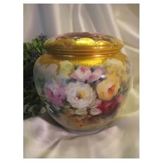 Magnificent RARE BEAUTY Limoges France COVERCED BISCUIT OR POWDER DRESSER JAR ~ Creme de la Creme ~ Hand Painted ROSES Heavy Raised Gold Paste ~ Master Artistry Fine China Painting Breathtaking One of a Kind ~ Circa 1900