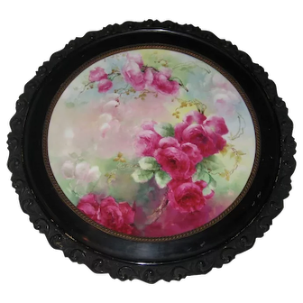 """VICTORIAN FRENCH HAND PAINTED TEA ROSES"" Gorgeous Limoges France Framed Plaque ~ Tray ~ Charger ~ Magnificent Art Heirloom in Beautiful Rare Original Ornate Carved Frame ~ Collector Piece Gorgeous Master Artistry Circa 1891 - 1932"""