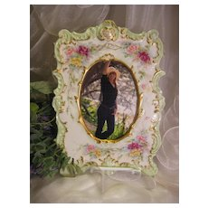 "Exceptional Victorian Antique Limoges France Picture Frame ""Gorgeous and Precious Pink ~ Burgundy ~ Yellow ~ Hand Painted Garden Bouquet Roses"" Elaborate Embossed Porcelain Mold ~ T&V France circa 1900"