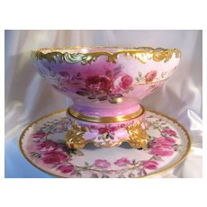"Gorgeous Antique T&V Limoges France Hand Painted Roses Porcelain Punch Bowl With Matching Plinth/Pedestal/Base And Matching 18"" Tray ~ Victorian Masterpiece Heirloom Treasure ~ Circa 1900"