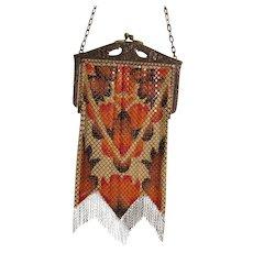 Beautiful Mandalian Mfg. Colorful Vintage Geometric Art Deco Enameled Mesh Handbag Purse