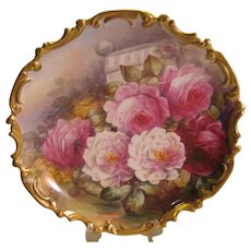 Stunning Antique Limoges France Hand Painted Victorian Roses Wall Plaque Charger Highly Collectible Still Life China Painting Artwork Scenic Masterpiece Heirloom Treasure Artist Signed