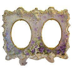 """Absolutely Rare and Exceptional Victorian Antique Limoges France Double Picture Frame """"Gorgeous African Violets """" Elaborate Mold Hand Painted Tressemann & Vogt, T&V circa 1892 - 1907"""
