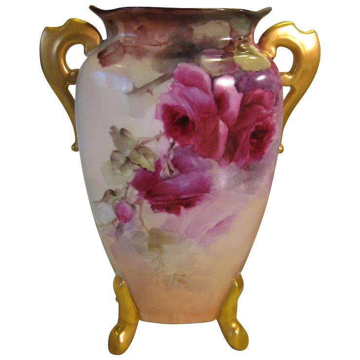 Beautiful Antique Limoges French Hand Painted Porcelain Vase Old