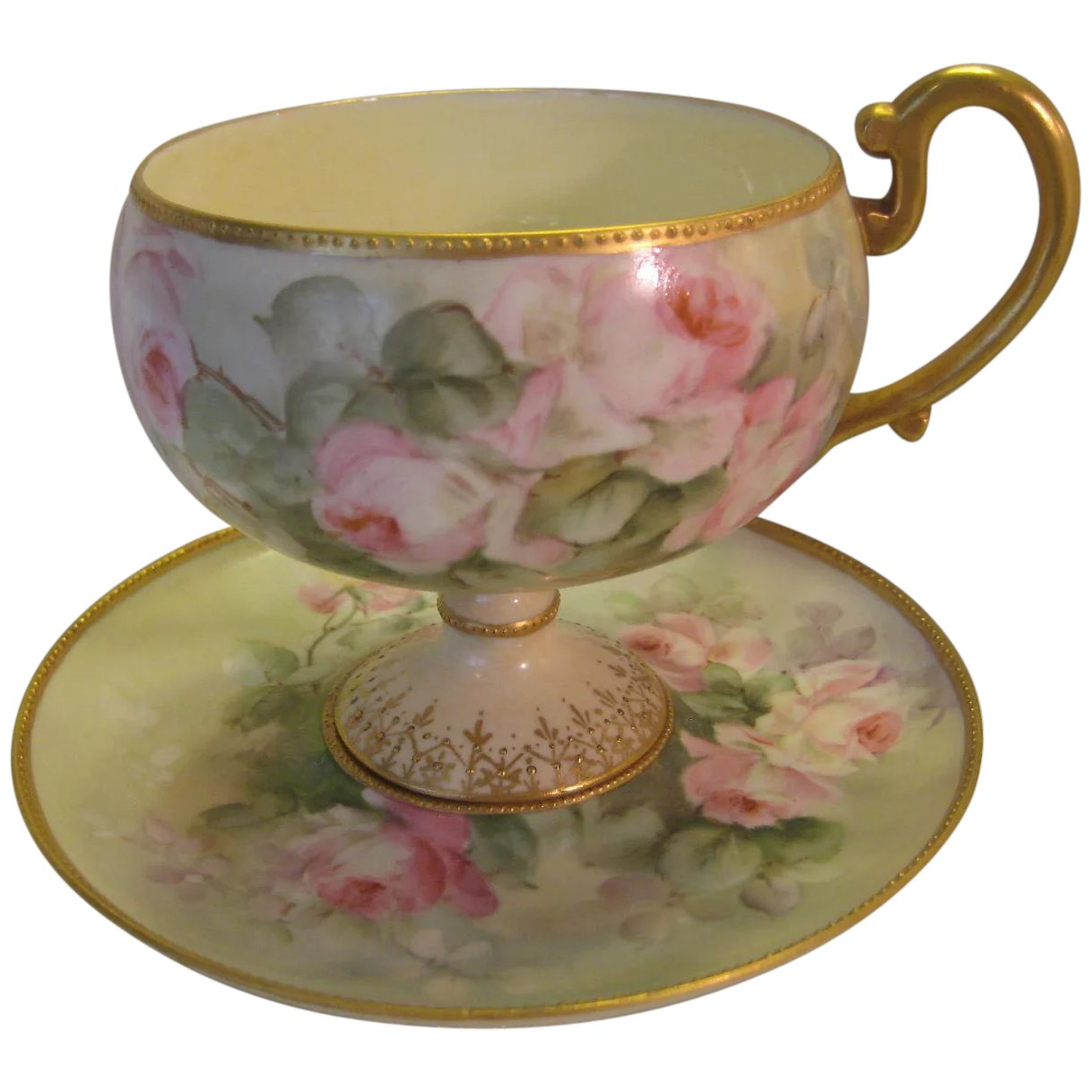Elegant Antique Footed Willets Belleek Cup And Saucer