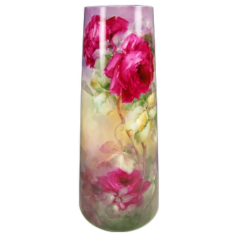 Absolutely Magnificent Turn-of-the-Century VICTORIAN MASTERPIECE Exquisite and Superbly Hand Painted Drop Dead Gorgeous Roses Antique Porcelain WILLETS BELLEEK Vase Master Artistry Artist Signed circa 1879 -1912