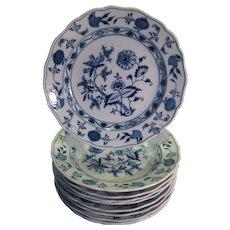 Antique Meissen Porcelain Set of Ten 'Blue Onion' Dinner Plates ~ Late 19th Century ~ Swords Mark