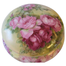 """Gorgeous Limoges France Outstanding Large 8"""" Diameter French Porcelain Jewel Box Powder Dresser Jar with Gorgeous Hand Painted Roses Circa 1900"""
