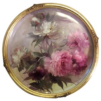 """""""VICTORIAN FRENCH HAND PAINTED PEONIES"""" Gorgeous Limoges 19 1/2"""" France Framed Plaque ~ Tray ~ Charger ~ Magnificent Art Heirloom in Beautiful Roman Gold Ornate Frame ~ Collector Piece Gorgeous Master Artistry Circa 1906"""