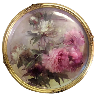"""VICTORIAN FRENCH HAND PAINTED PEONIES"" Gorgeous Limoges 19 1/2"" France Framed Plaque ~ Tray ~ Charger ~ Magnificent Art Heirloom in Beautiful Roman Gold Ornate Frame ~ Collector Piece Gorgeous Master Artistry Circa 1906"