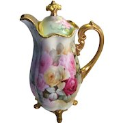 Victorian Roses CHOCOLATE COCOA POT Antique Limoges France Chocoliatiere HAND PAINTED TEA ROSES Fine Vintage Heirloom Rare Mold China Painting Circa 1900