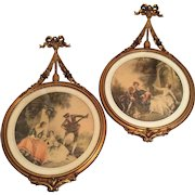 Exceptional Large Pair Antique French Victorian Gilt Gesso Wood Frames ~ Beautiful Victorian Prints ~ Circa 1880's