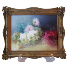 "Stunning Rare Beauty ~ Antique Hand Painted Limoges Framed Porcelain Tile ~ Breathtaking ROSES ~ Museum Quality Masterpiece Still Life Painting ~ One-of-a-Kind Floral French Painting on Porcelain ~ Artist Signed ""E Louise Jenkins"" 1903"