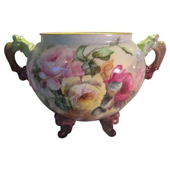 Stunning Antique Limoges France Masterpiece ~ Huge Porcelain French Footed/Handled Jardiniere Vase ~ Hand Painted Gorgeous Roses