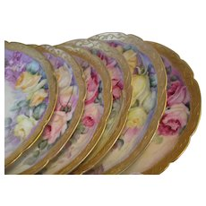 Hand painted ROSES and GOLD Artwork ~ Set of Six Antique Limoges France Fine Art Dessert Plates Afternoon Floral Tea Plates ~ Circa 1900