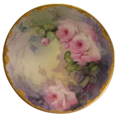 """PINK TEA ROSES PERFECTION"" Gorgeous Antique Limoges France Hand Painted Decorative Art Cabinet Plate Jean Pouyat circa 1893 - 1932"