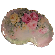 """GORGEOUS ROSES"" Antique Limoges Vintage Heirloom Victorian Lady's Boudoir French Porcelain Dresser Tray Hand Painted Pastel Floral Art China Painting circa 1900"